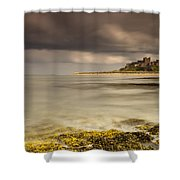 Bamburgh Castle Under A Cloudy Sky Shower Curtain by John Short