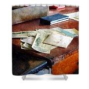 Bank Checks Dated 1923 Shower Curtain by Susan Savad