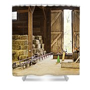 Barn With Hay Bales And Farm Equipment Shower Curtain by Elena Elisseeva