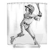 Baseball Kid Shower Curtain by Murphy Elliott