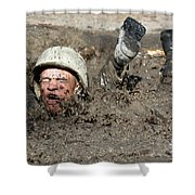 Basic Cadet Trainees Attack The Mud Pit Shower Curtain by Stocktrek Images