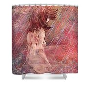 Bathing In The Rain Shower Curtain by Rachel Christine Nowicki