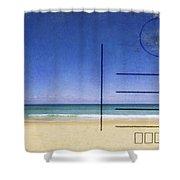 beach and blue sky on postcard  Shower Curtain by Setsiri Silapasuwanchai