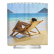 Beach Lounger II Shower Curtain by Tomas del Amo