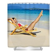 Beach Stretching Shower Curtain by Tomas del Amo