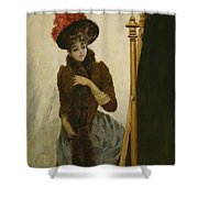 Before The Swing Mirror Shower Curtain by Emile Galle