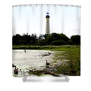 Behind the Cape May Lighthouse Shower Curtain by Bill Cannon