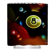 Behind The Eight Ball - Electric Art Shower Curtain by Wingsdomain Art and Photography