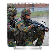 Belgian Infantry Soldiers In Training Shower Curtain by Luc De Jaeger