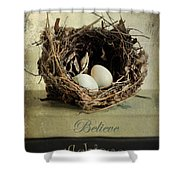 Believe Achieve Receive Shower Curtain by Darren Fisher
