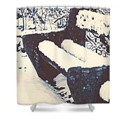 Bench With Snow Shower Curtain by Joana Kruse