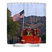 Bethlehem Fire Truck - D008199 Shower Curtain by Daniel Dempster