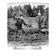 Bewick: Boy With Dogs Shower Curtain by Granger