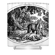 Bewick: Man And Bear Shower Curtain by Granger