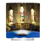 Bible In Church Shower Curtain by John Short