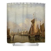 Billingsgate Wharf Shower Curtain by John Wilson Carmichael