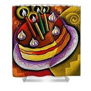 Birthday  Cake  Shower Curtain by Leon Zernitsky