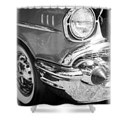 Black And White 1957 Chevy Shower Curtain by Steve McKinzie