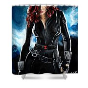 Black Widow Shower Curtain by Tom Carlton