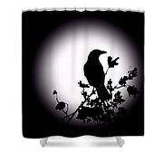 Blackbird In Silhouette  Shower Curtain by David Dehner