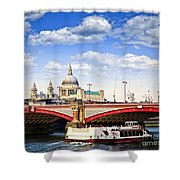 Blackfriars Bridge And St. Paul's Cathedral In London Shower Curtain by Elena Elisseeva