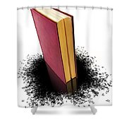 Bleading Book Shower Curtain by Carlos Caetano