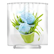 Blue Easter eggs and green grass Shower Curtain by Elena Elisseeva
