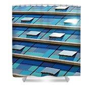 Blue Facade Shower Curtain by Carlos Caetano