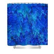 Blue Glass - Abstract Art Shower Curtain by Carol Groenen