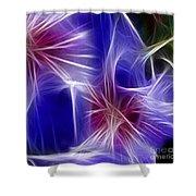 Blue Hibiscus Fractal Panel 4 Shower Curtain by Peter Piatt
