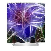 Blue Hibiscus Fractal Panel 5 Shower Curtain by Peter Piatt