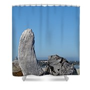 Blue Sky Coastal Landscape Driftwood Rock Pier Shower Curtain by Baslee Troutman