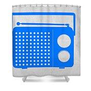 Blue Transistor Radio Shower Curtain by Naxart Studio