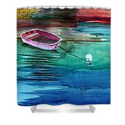 Boat And The Buoy Shower Curtain by Anil Nene