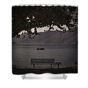 boat on the Lago Maggiore Shower Curtain by Joana Kruse
