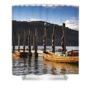 Boats Docked On A Pier, Keswick Shower Curtain by John Short