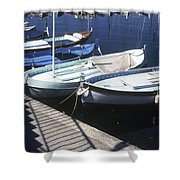 Boats In Harbor Shower Curtain by Axiom Photographic
