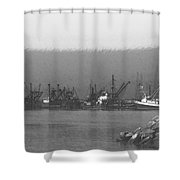 Boats In Harbor Charcoal Shower Curtain by Chalet Roome-Rigdon
