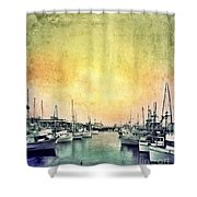 Boats In The Harbor Shower Curtain by Jill Battaglia
