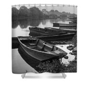 Boats on the Vienne Shower Curtain by Debra and Dave Vanderlaan