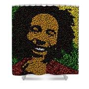 Bob Marley Bottle Cap Mosaic Shower Curtain by Paul Van Scott