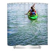 Boys Rowing Shower Curtain by Carlos Caetano