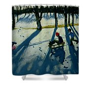 Boys Sledging Shower Curtain by Andrew Macara