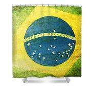 Brazil Flag Shower Curtain by Setsiri Silapasuwanchai