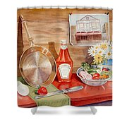 Breakfast At Copper Skillet Shower Curtain by Irina Sztukowski