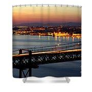 Bridge Over Tagus Shower Curtain by Carlos Caetano