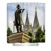 Brigham's Slc Temple Shower Curtain by La Rae  Roberts