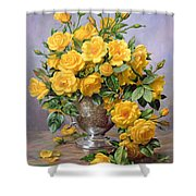 Bright Smile - Roses In A Silver Vase Shower Curtain by Albert Williams