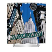 Broadway Sign And Empire State Building Shower Curtain by Axiom Photographic