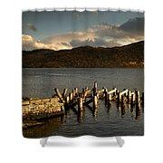 Broken Dock, Loch Sunart, Scotland Shower Curtain by John Short